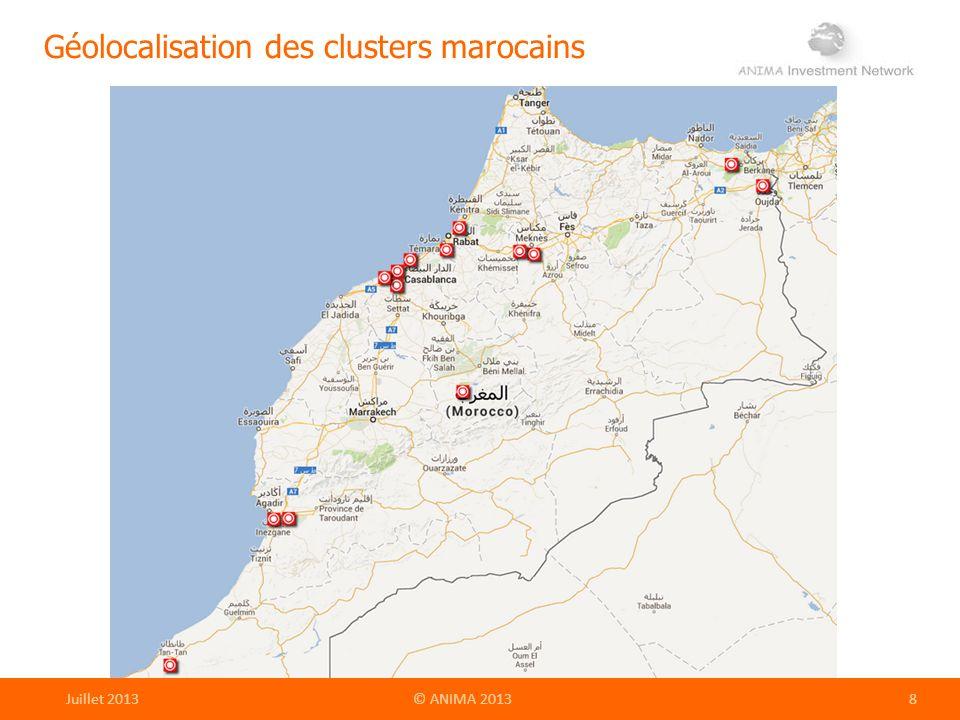 8 © ANIMA 2013 Juillet 2013 Géolocalisation des clusters marocains