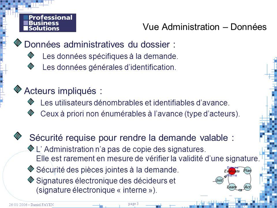 3 page 3 Copyright PBS 2005 26/01/2006 – Daniel FAYEN Vue Administration – Données Données administratives du dossier : Les données spécifiques à la d