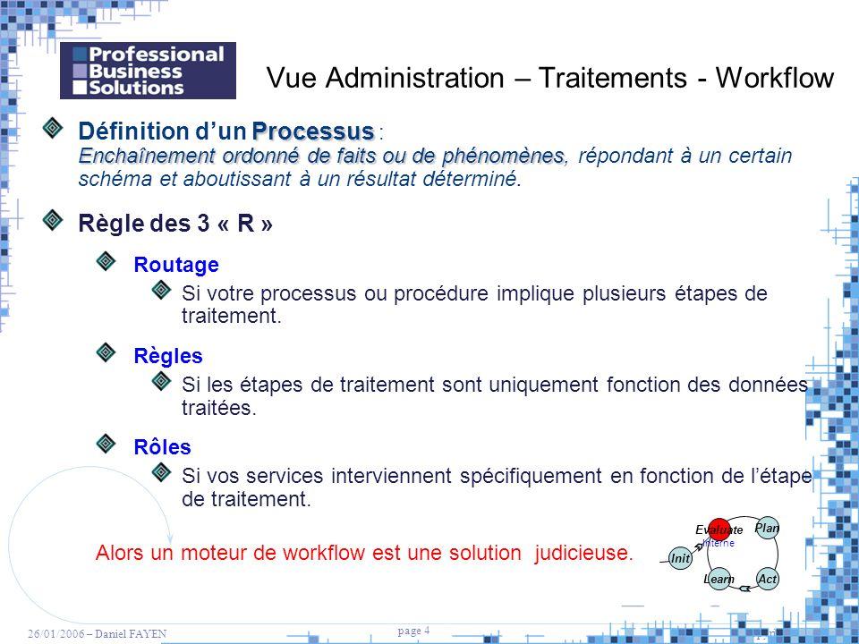 4 page 4 Copyright PBS 2005 26/01/2006 – Daniel FAYEN Vue Administration – Traitements - Workflow Processus Enchaînement ordonné de faits ou de phénom