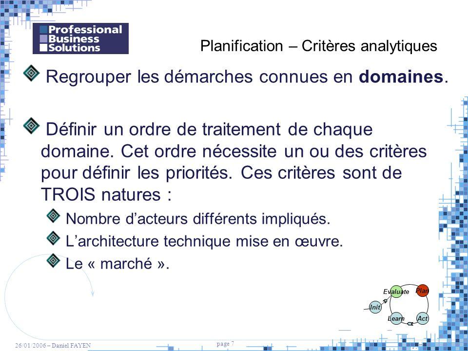 7 page 7 Copyright PBS 2005 26/01/2006 – Daniel FAYEN Planification – Critères analytiques Regrouper les démarches connues en domaines. Définir un ord