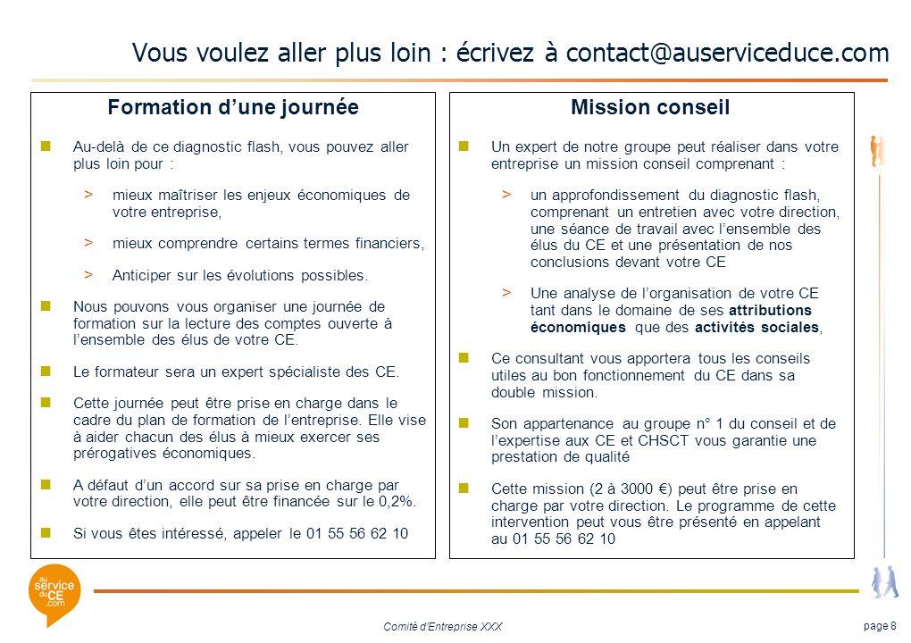 Comité dEntreprise XXX page 8 Vous voulez aller plus loin : écrivez à contact@auserviceduce.com Formation dune journée Au-delà de ce diagnostic flash,