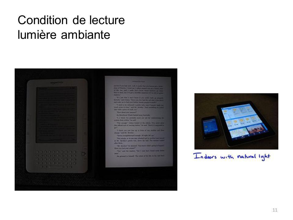 11 Condition de lecture lumière ambiante