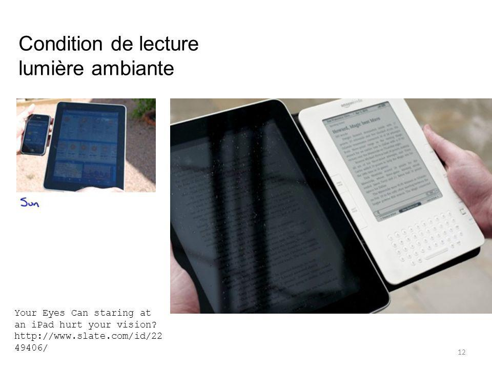 12 Condition de lecture lumière ambiante Your Eyes Can staring at an iPad hurt your vision? http://www.slate.com/id/22 49406/