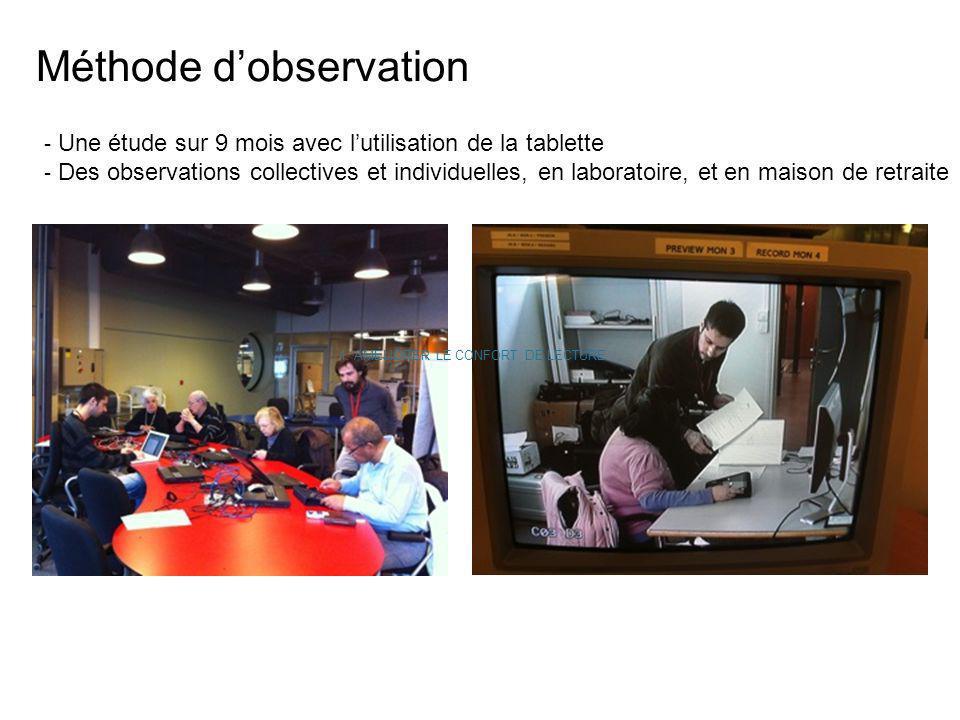 Méthode dobservation - Une étude sur 9 mois avec lutilisation de la tablette - Des observations collectives et individuelles, en laboratoire, et en ma