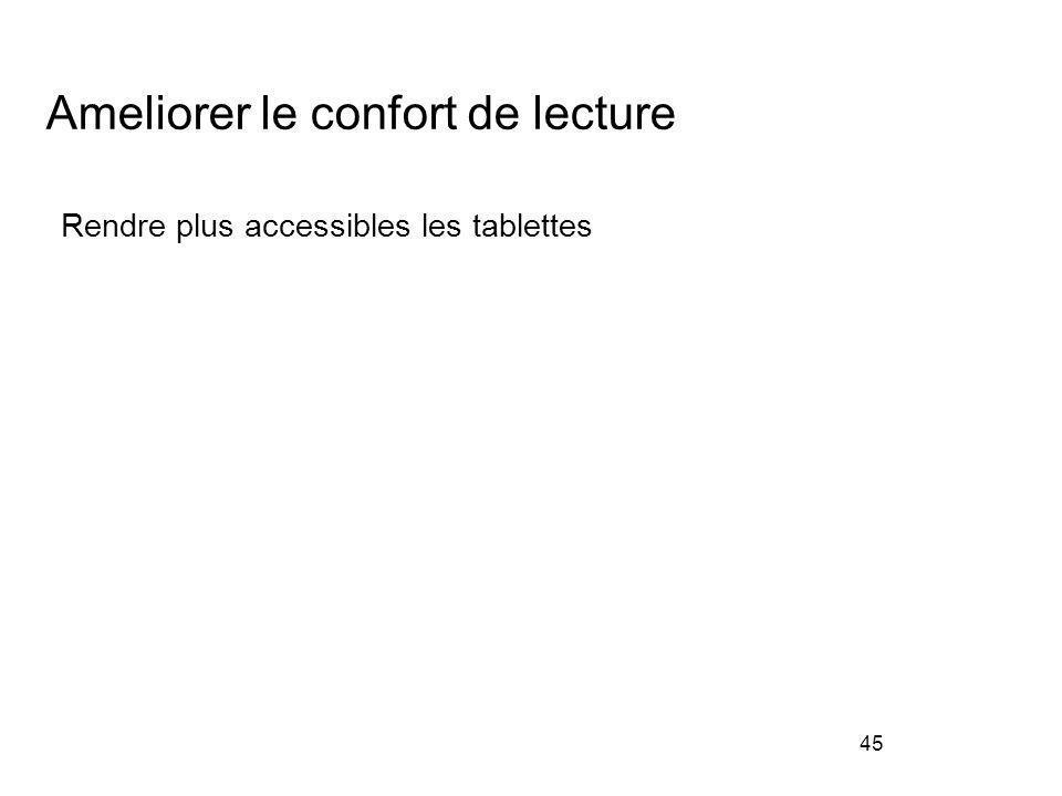 45 Ameliorer le confort de lecture Rendre plus accessibles les tablettes