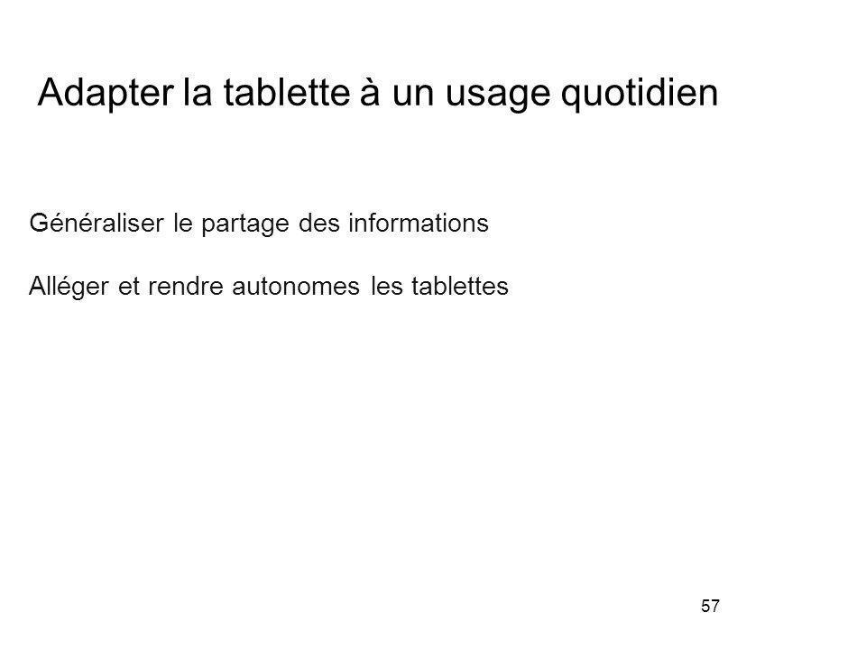 57 Adapter la tablette à un usage quotidien Généraliser le partage des informations Alléger et rendre autonomes les tablettes