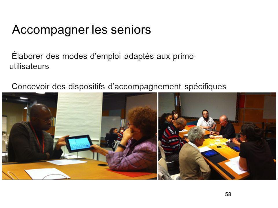 58 Accompagner les seniors Élaborer des modes demploi adaptés aux primo- utilisateurs Concevoir des dispositifs daccompagnement spécifiques