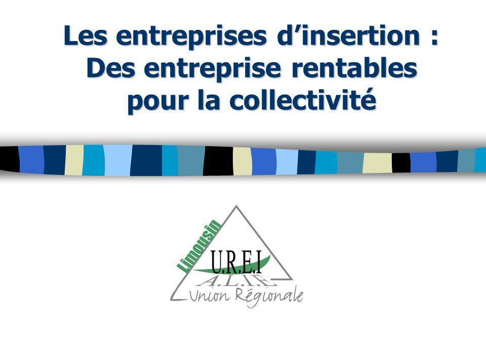 Les entreprises dinsertion : Des entreprise rentables pour la collectivité