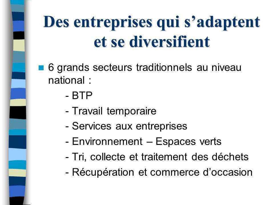 Des entreprises qui sadaptent et se diversifient 6 grands secteurs traditionnels au niveau national : - BTP - Travail temporaire - Services aux entrep