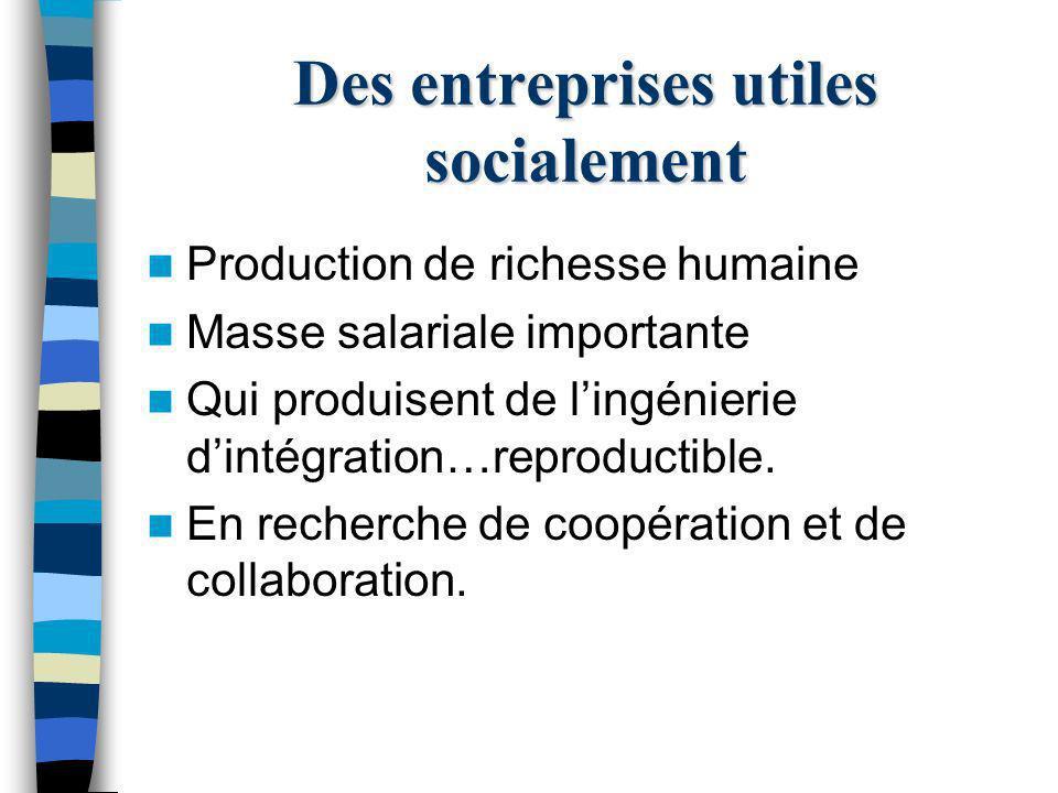 Des entreprises utiles socialement Production de richesse humaine Masse salariale importante Qui produisent de lingénierie dintégration…reproductible.