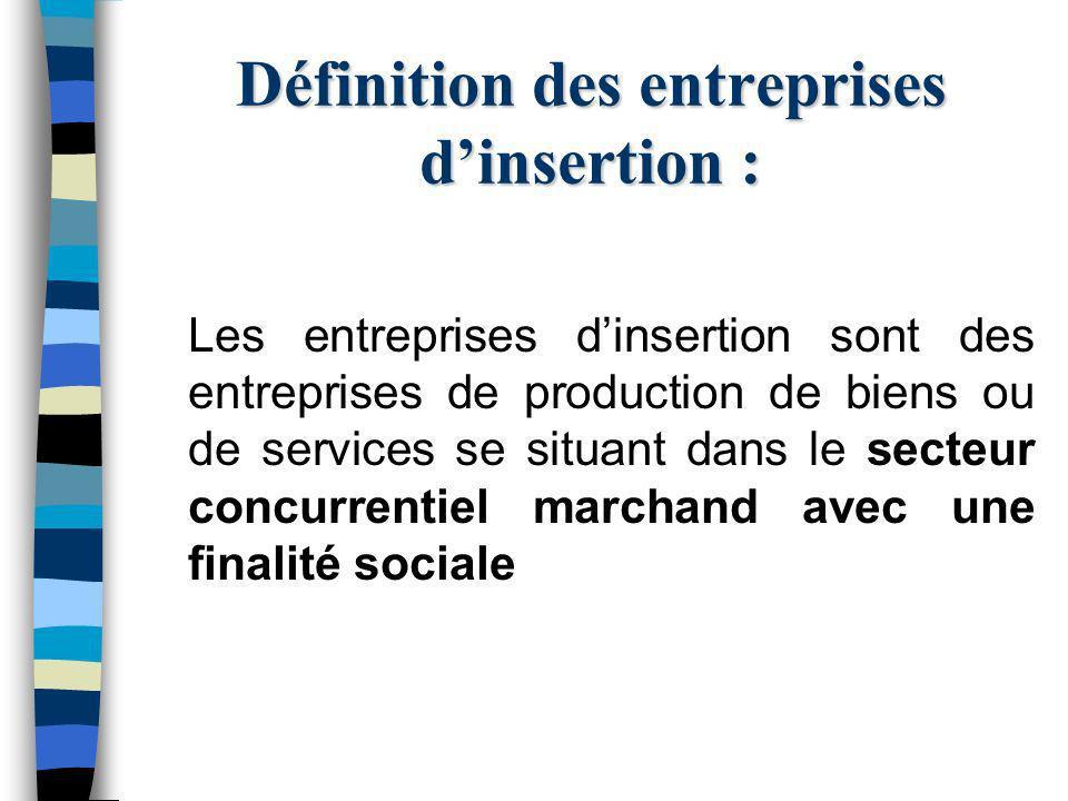 Définition des entreprises dinsertion : Les entreprises dinsertion sont des entreprises de production de biens ou de services se situant dans le secteur concurrentiel marchand avec une finalité sociale