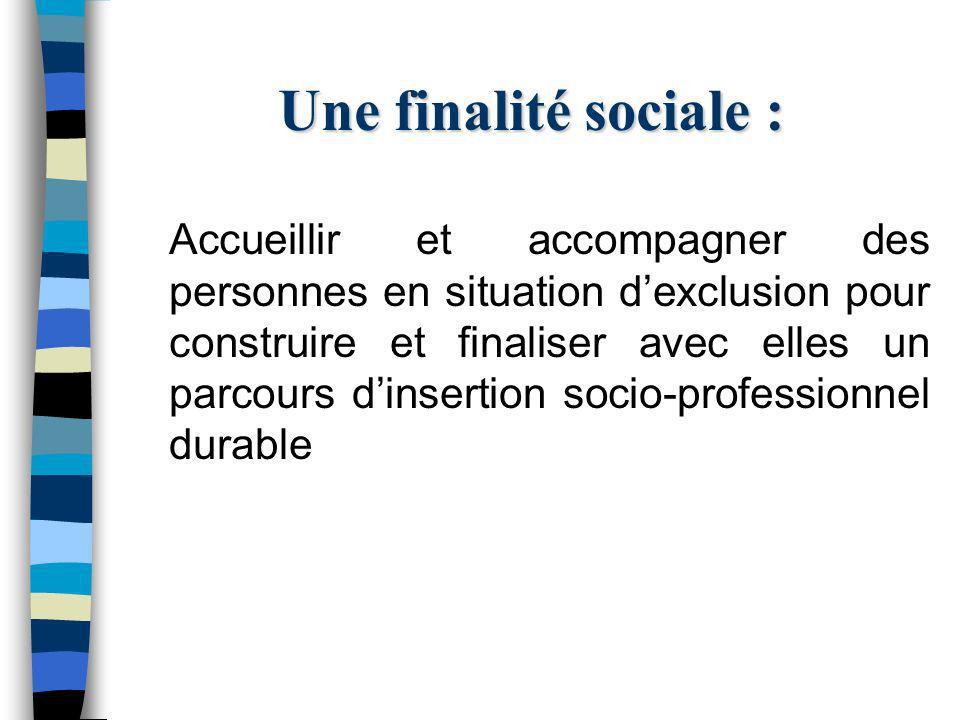 Une finalité sociale : Accueillir et accompagner des personnes en situation dexclusion pour construire et finaliser avec elles un parcours dinsertion socio-professionnel durable