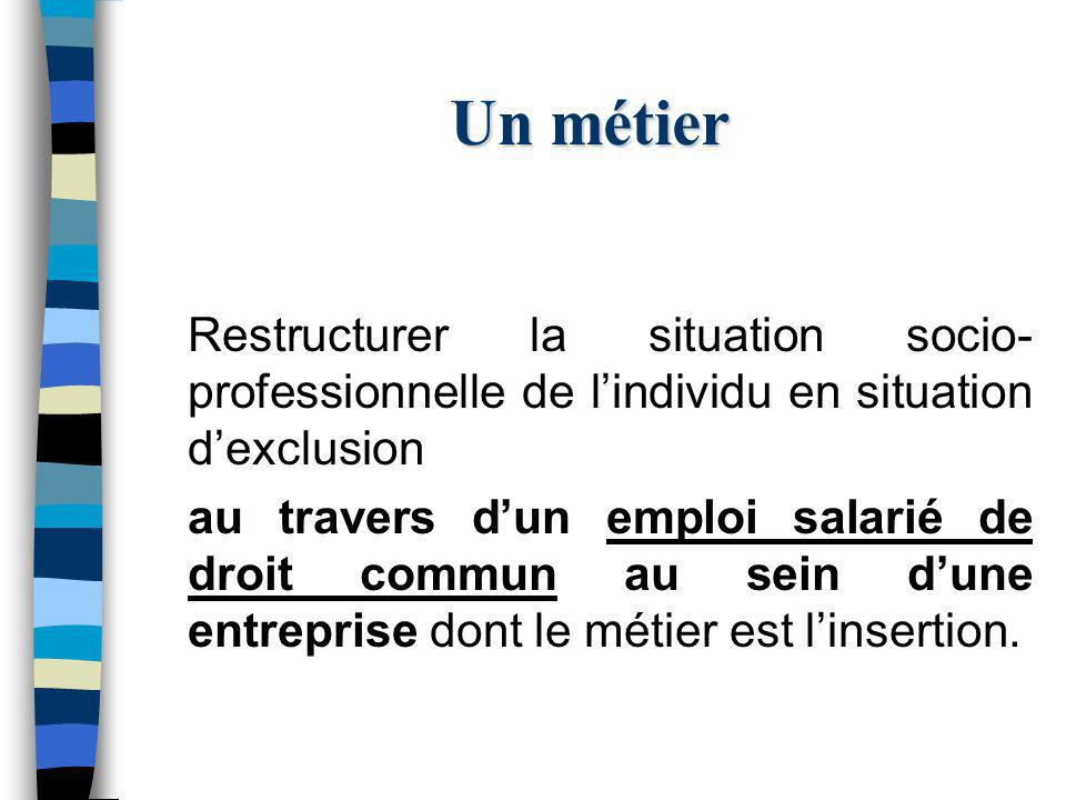 Un métier Restructurer la situation socio- professionnelle de lindividu en situation dexclusion au travers dun emploi salarié de droit commun au sein dune entreprise dont le métier est linsertion.