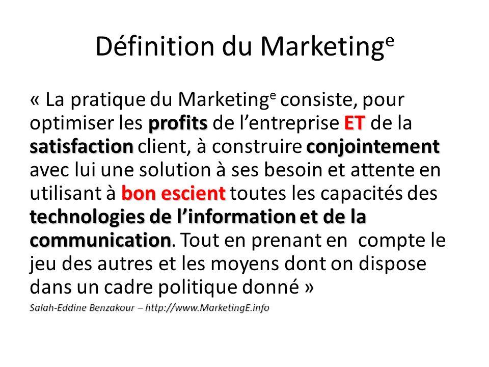 Définition du Marketing e profits ET satisfactionconjointement bon escient technologies de linformation et de la communication « La pratique du Market