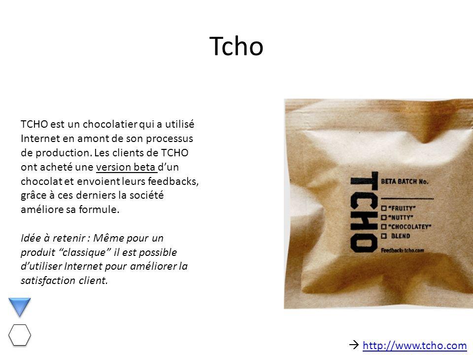 Tcho TCHO est un chocolatier qui a utilisé Internet en amont de son processus de production. Les clients de TCHO ont acheté une version beta dun choco
