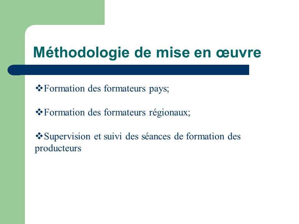 Méthodologie de mise en œuvre Formation des formateurs pays; Formation des formateurs régionaux; Supervision et suivi des séances de formation des producteurs