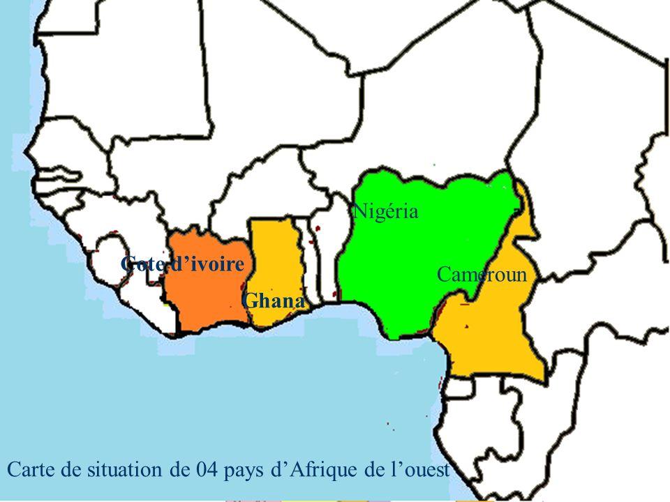 Cameroun Cote divoire Ghana Nigéria Carte de situation de 04 pays dAfrique de louest