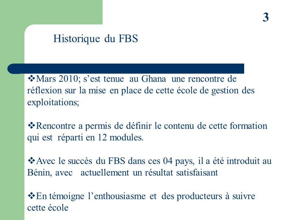 3 Historique du FBS Mars 2010; sest tenue au Ghana une rencontre de réflexion sur la mise en place de cette école de gestion des exploitations; Rencontre a permis de définir le contenu de cette formation qui est réparti en 12 modules.