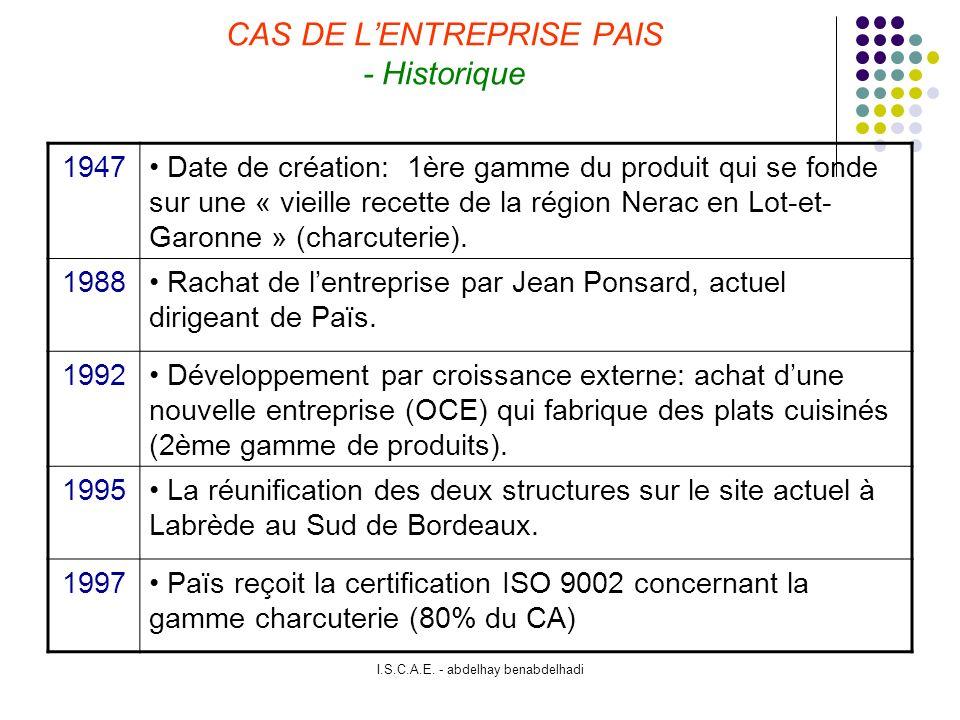 I.S.C.A.E.- abdelhay benabdelhadi CAS DE LENTREPRISE PAIS - Organisation D.G.