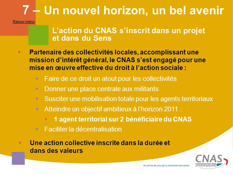 Laction du CNAS sinscrit dans un projet et dans du Sens Partenaire des collectivités locales, accomplissant une mission dintérêt général, le CNAS sest