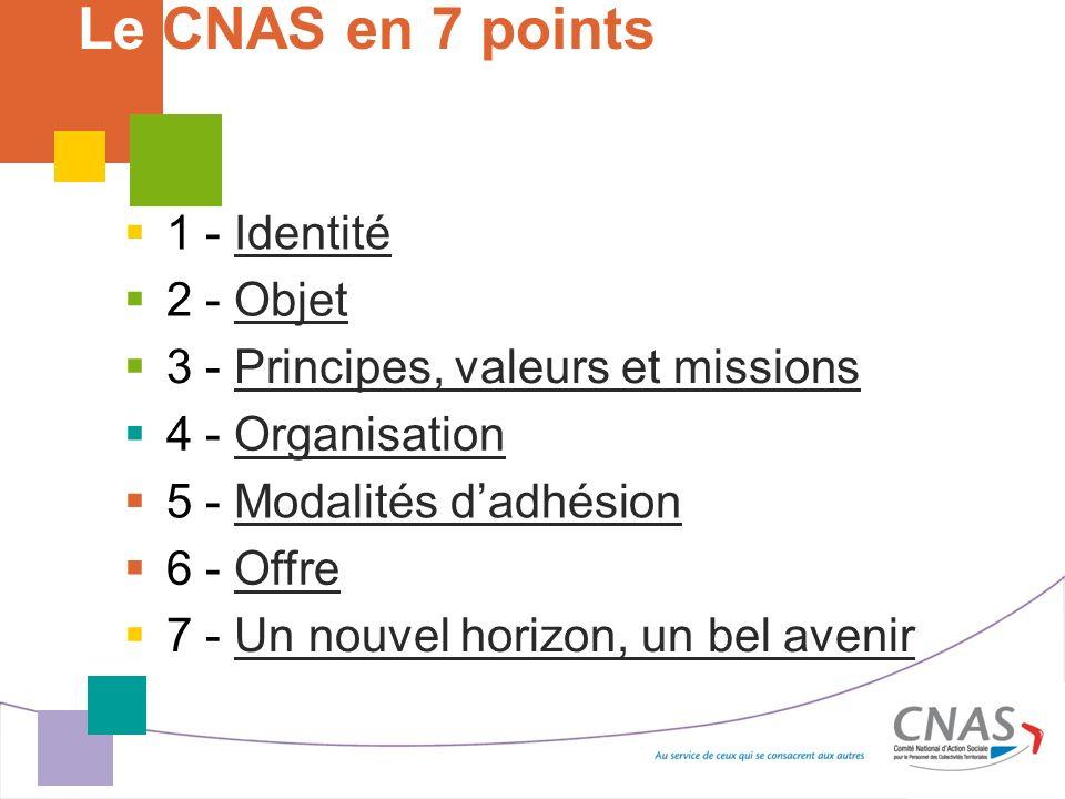5 - Modalités dadhésionModalités dadhésion Le CNAS en 7 points 1 - Identité 1 - Identité 3 - Principes, valeurs et missionsPrincipes, valeurs et missi