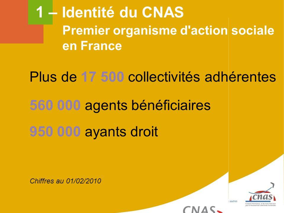 Plus de 17 500 collectivités adhérentes 560 000 agents bénéficiaires 950 000 ayants droit Premier organisme d'action sociale en France Chiffres au 01/