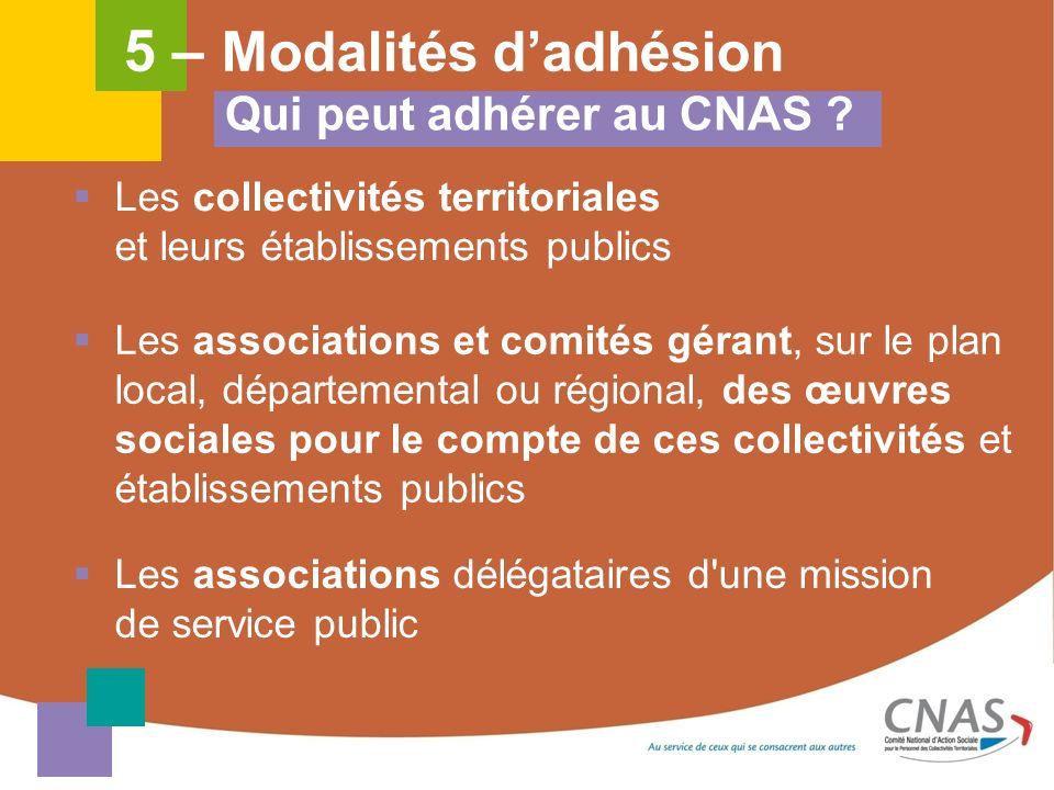 Qui peut adhérer au CNAS ? Les collectivités territoriales et leurs établissements publics Les associations et comités gérant, sur le plan local, dépa