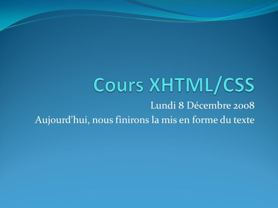 Lundi 8 Décembre 2008 Aujourd hui, nous finirons la mis en forme du texte