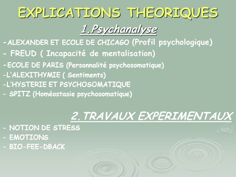 EXPLICATIONS THEORIQUES 1.Psychanalyse - ALEXANDER ET ECOLE DE CHICAGO (Profil psychologique) - FREUD ( Incapacité de mentalisation) - ECOLE DE PARIS