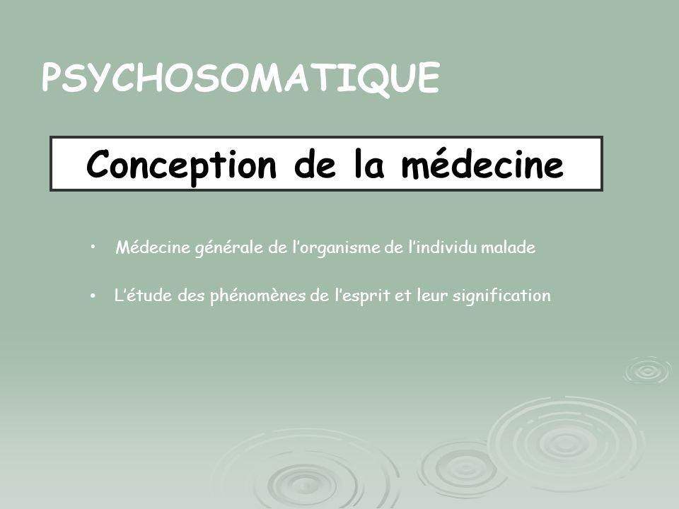 PSYCHOSOMATIQUE Conception de la médecine Médecine générale de lorganisme de lindividu malade Létude des phénomènes de lesprit et leur signification