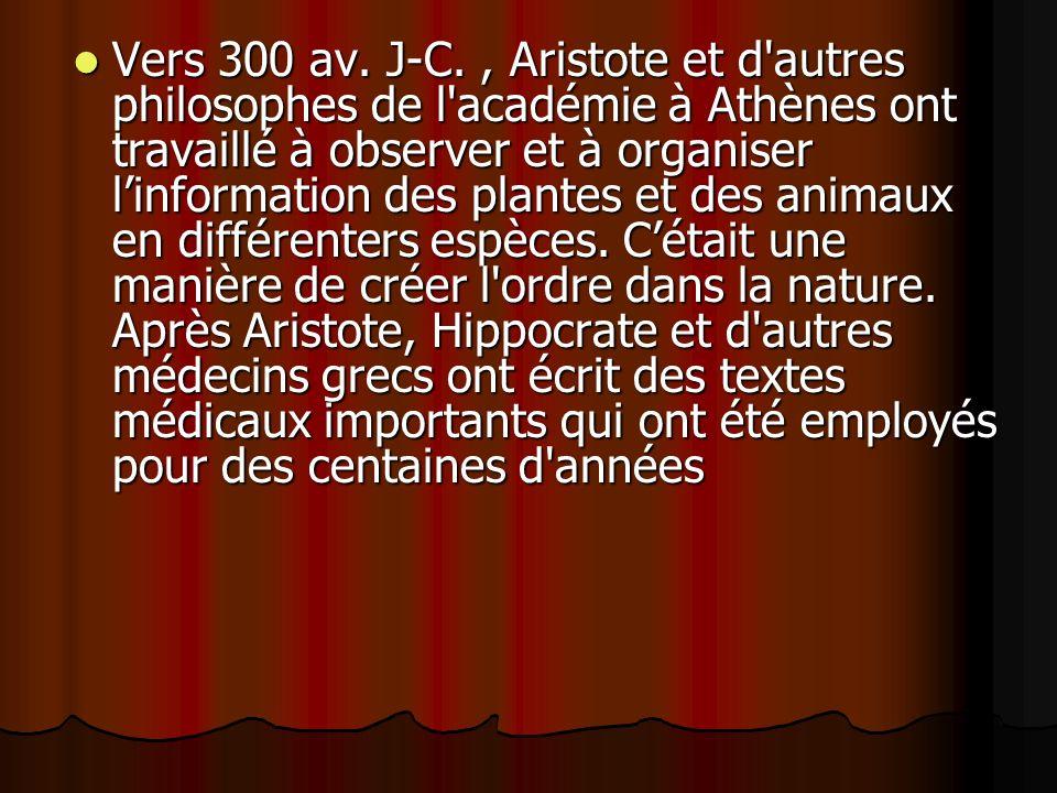 Vers 300 av. J-C., Aristote et d'autres philosophes de l'académie à Athènes ont travaillé à observer et à organiser linformation des plantes et des an