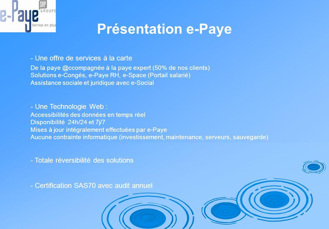Présentation e-Paye - Une offre de services à la carte De la paye @ccompagnée à la paye expert (50% de nos clients) Solutions e-Congés, e-Paye RH, e-S