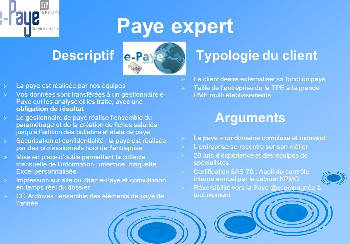 Paye expert Descriptif La paye est réalisée par nos équipes Vos données sont transférées à un gestionnaire e- Paye qui les analyse et les traite, avec