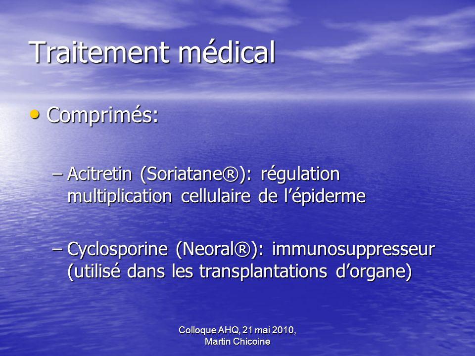 Colloque AHQ, 21 mai 2010, Martin Chicoine Traitement médical Comprimés: Comprimés: –Acitretin (Soriatane®): régulation multiplication cellulaire de l