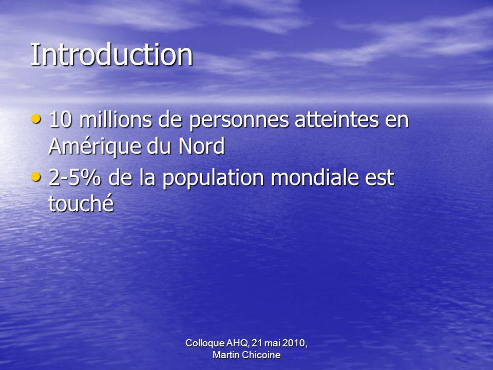 Colloque AHQ, 21 mai 2010, Martin Chicoine Introduction 10 millions de personnes atteintes en Amérique du Nord 10 millions de personnes atteintes en A
