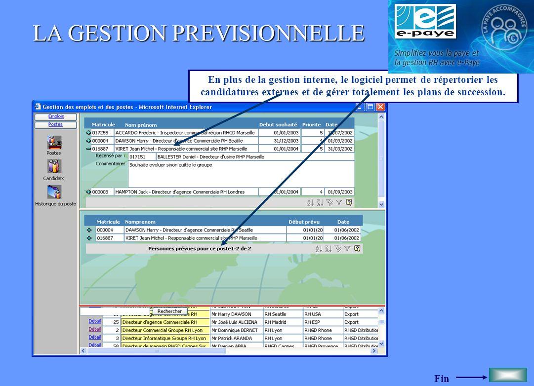 Fin LA GESTION PREVISIONNELLE En plus de la gestion interne, le logiciel permet de répertorier les candidatures externes et de gérer totalement les pl
