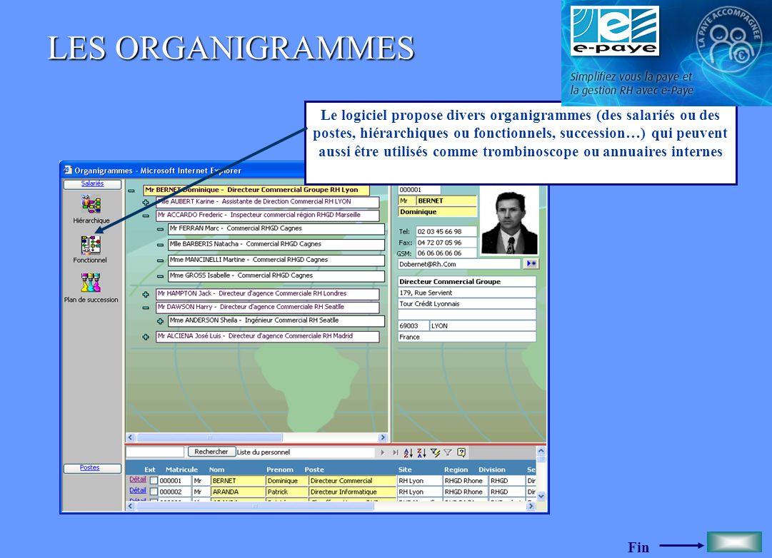 Fin LES ORGANIGRAMMES Le logiciel propose divers organigrammes (des salariés ou des postes, hiérarchiques ou fonctionnels, succession…) qui peuvent au