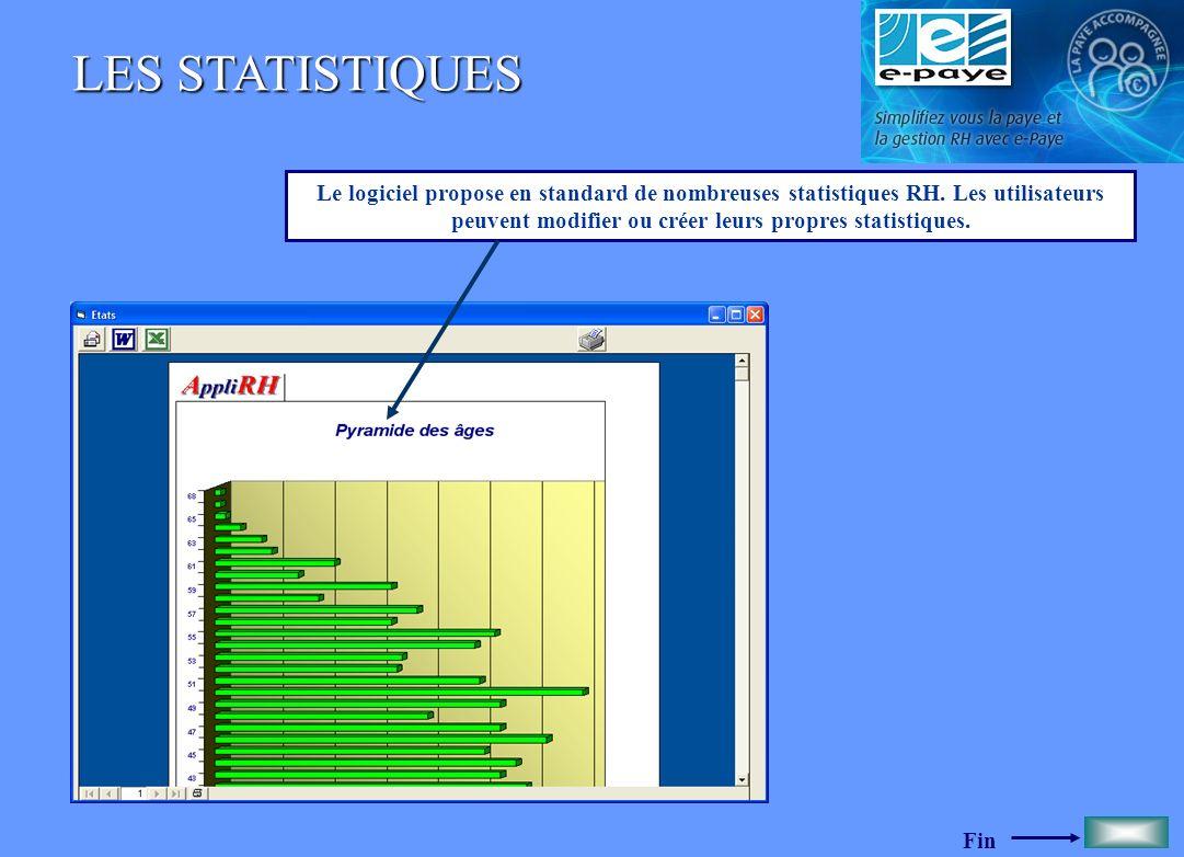 Fin LES STATISTIQUES Le logiciel propose en standard de nombreuses statistiques RH. Les utilisateurs peuvent modifier ou créer leurs propres statistiq
