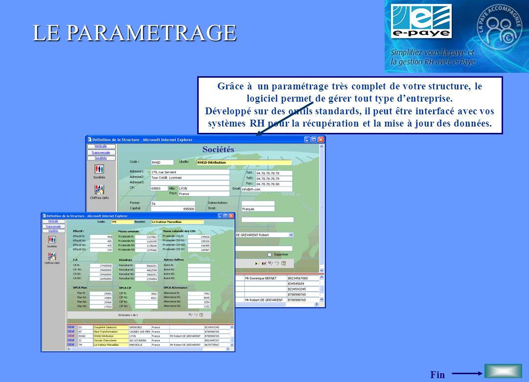 Fin LE PARAMETRAGE Grâce à un paramétrage très complet de votre structure, le logiciel permet de gérer tout type dentreprise. Développé sur des outils