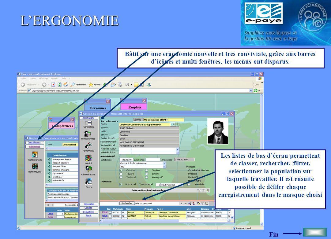 Fin LE PERSONNEL Le logiciel est constitué dune base de données sur le personnel très riche.