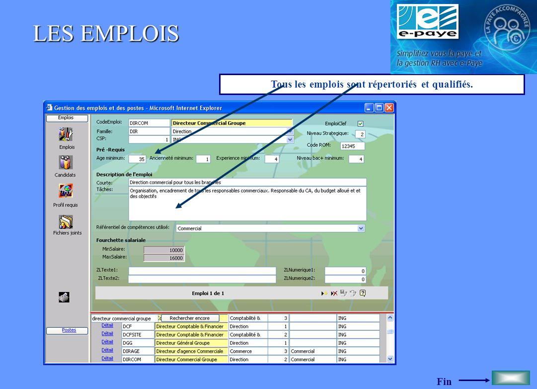 Fin LES EMPLOIS Tous les emplois sont répertoriés et qualifiés.