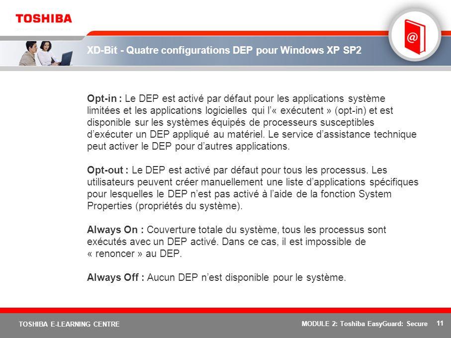 11 TOSHIBA E-LEARNING CENTRE MODULE 2: Toshiba EasyGuard: Secure XD-Bit - Quatre configurations DEP pour Windows XP SP2 Opt-in : Le DEP est activé par
