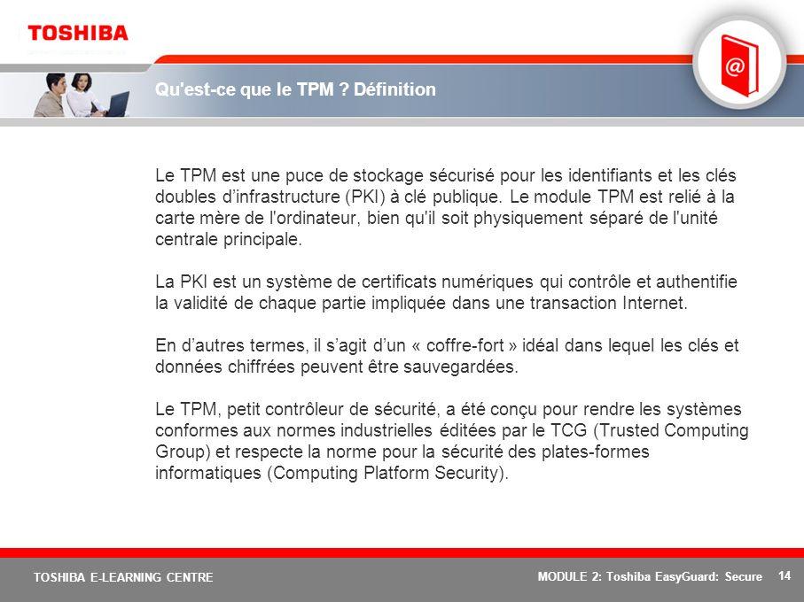 14 TOSHIBA E-LEARNING CENTRE MODULE 2: Toshiba EasyGuard: Secure Qu'est-ce que le TPM ? Définition Le TPM est une puce de stockage sécurisé pour les i