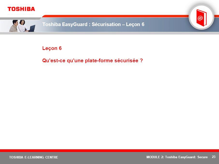 23 TOSHIBA E-LEARNING CENTRE MODULE 2: Toshiba EasyGuard: Secure Toshiba EasyGuard : Sécurisation – Leçon 6 Leçon 6 Qu'est-ce qu'une plate-forme sécur