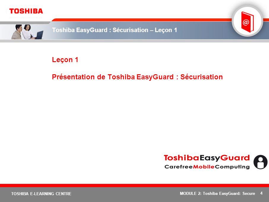 4 TOSHIBA E-LEARNING CENTRE MODULE 2: Toshiba EasyGuard: Secure Toshiba EasyGuard : Sécurisation – Leçon 1 Leçon 1 Présentation de Toshiba EasyGuard :