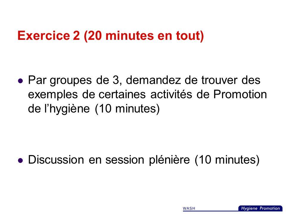 Une Promotion de lhygiène efficace insiste sur limportance de: l action et du dialogue