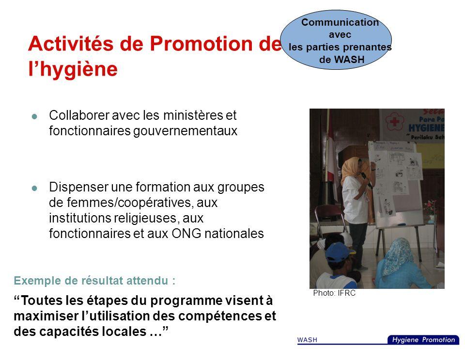 Activités de Promotion de lhygiène Exemple de résultat escompté : 75% (des hommes, femmes, et enfants) se lavent les mains après avoir utilisé une lat