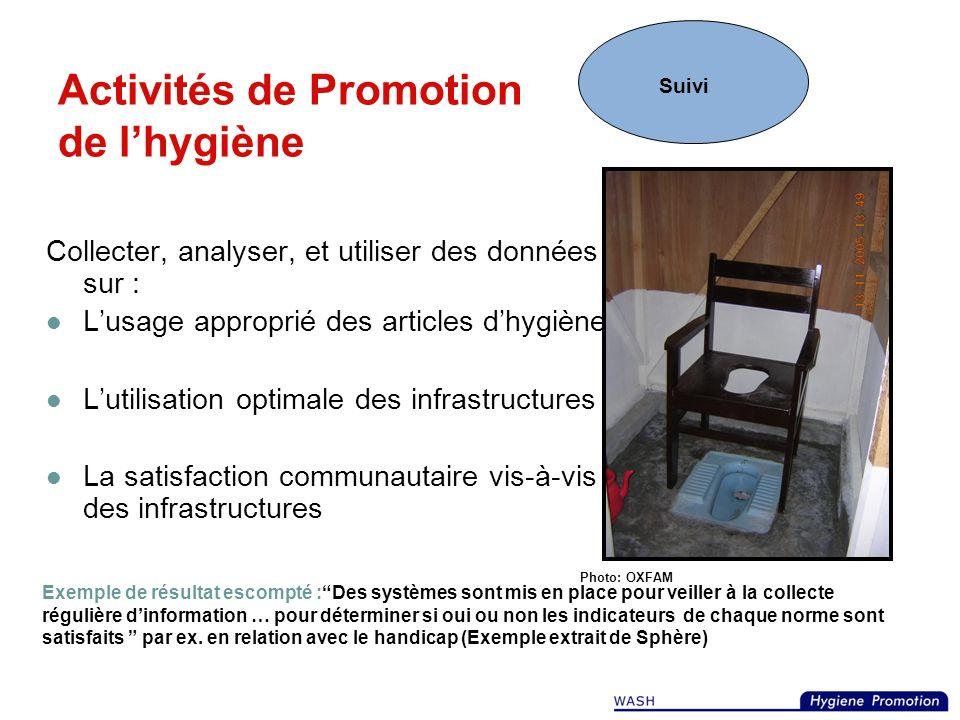 Activités de Promotion de lhygiène Collaborer avec les ministères et fonctionnaires gouvernementaux Dispenser une formation aux groupes de femmes/coop