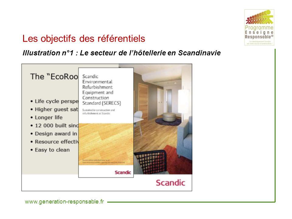 Les objectifs des référentiels Illustration n°1 : Le secteur de lhôtellerie en Scandinavie www.generation-responsable.fr