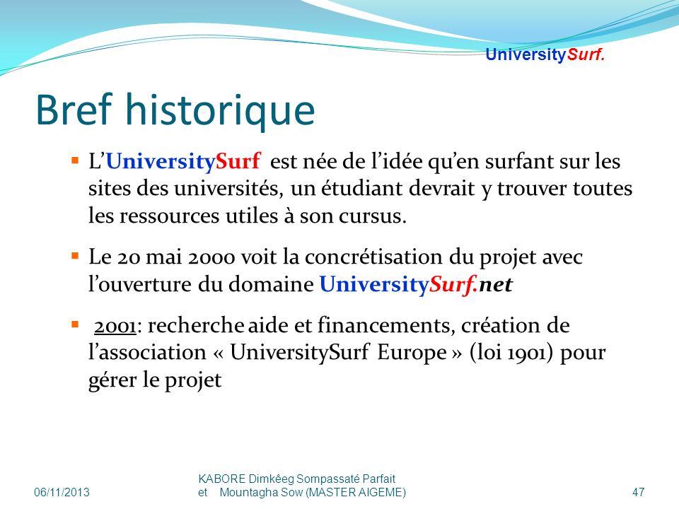 Bref historique LUniversitySurf est née de lidée quen surfant sur les sites des universités, un étudiant devrait y trouver toutes les ressources utile
